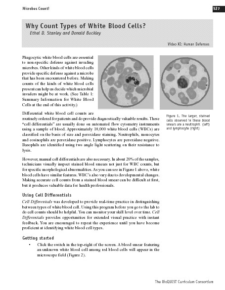 Microbes Count! Chapter 11: Why Count Types of White Blood Cells
