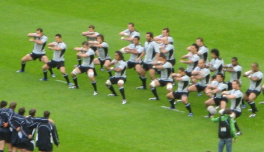 The All Blacks, New Zealand's national rugby team, performing a haka.